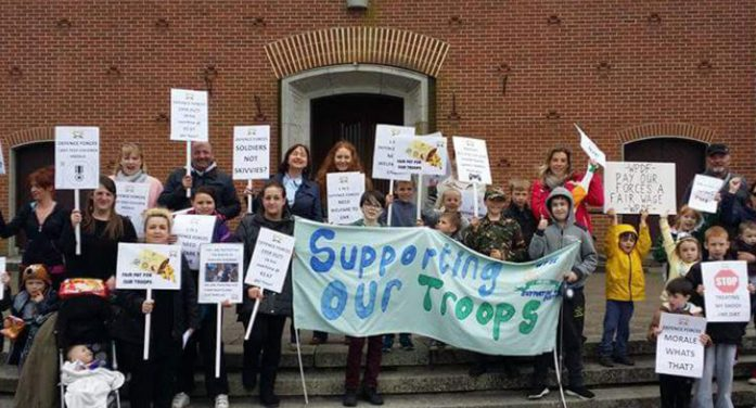 Defence force families protest dreadful pay and conditions